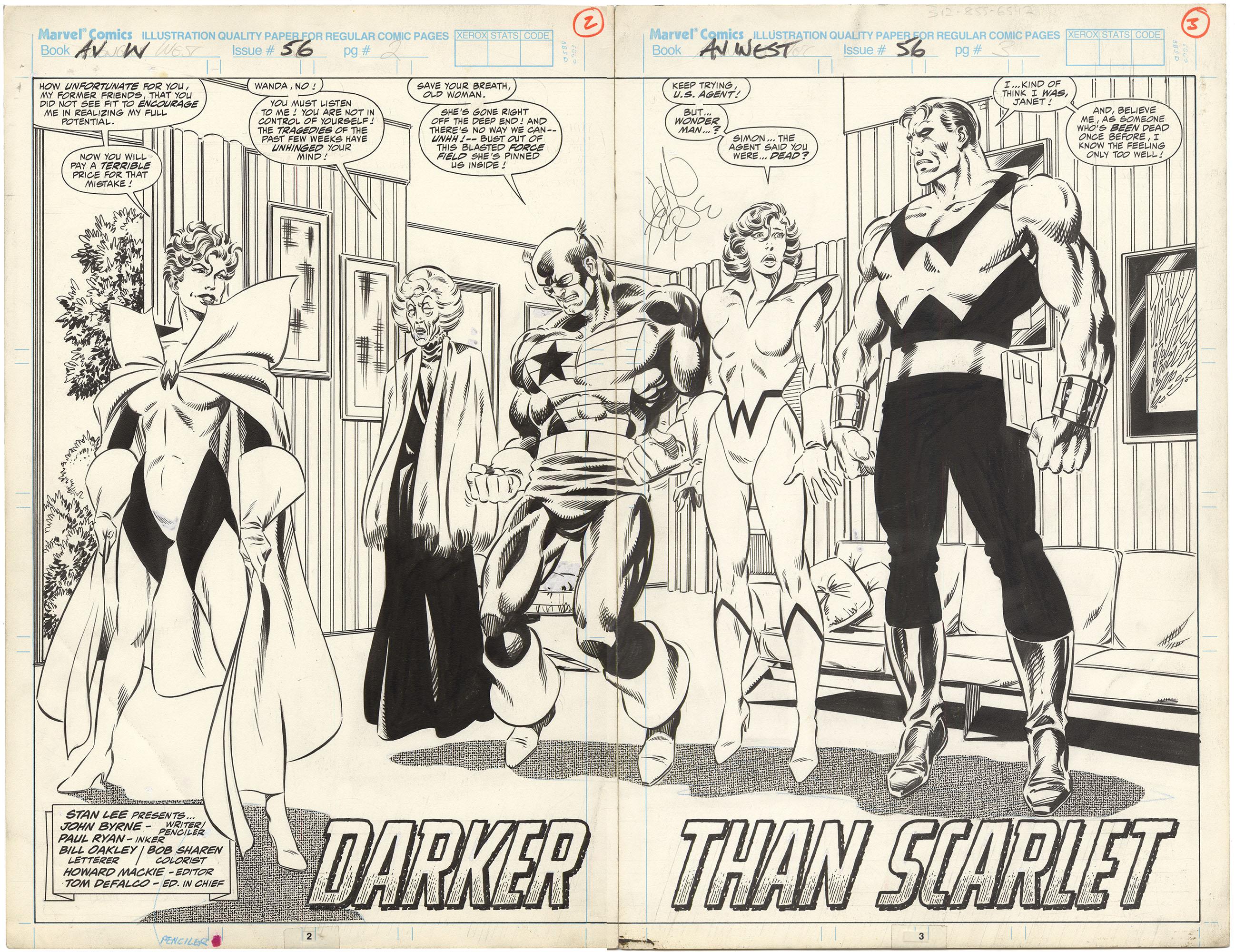 Avengers West Coast #56 p2-3 (Signed Spread)