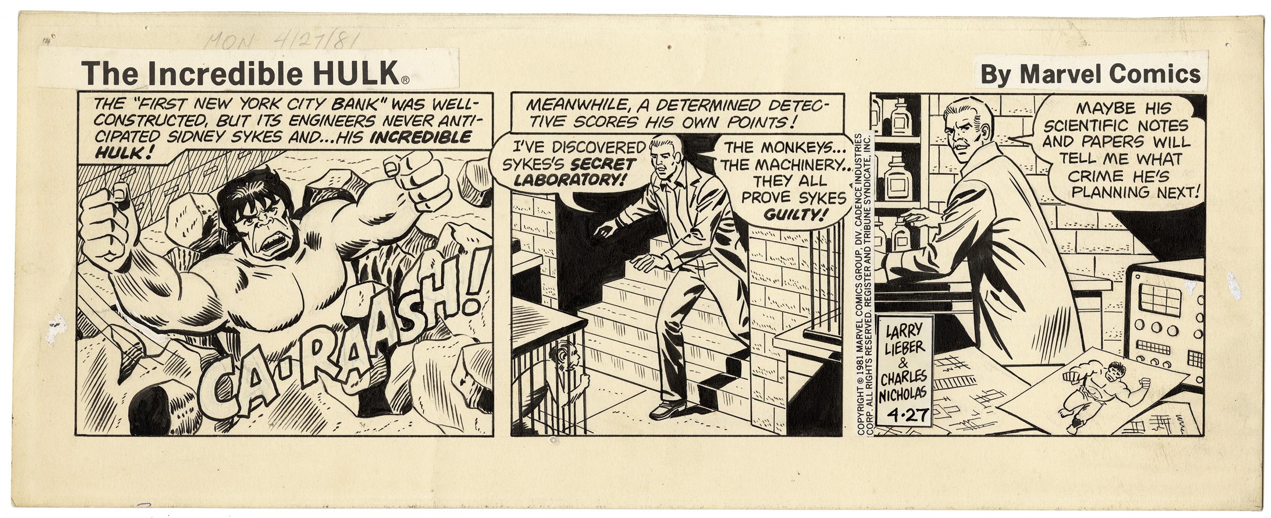 Incredible Hulk, Daily Strip Art 4/27/1981