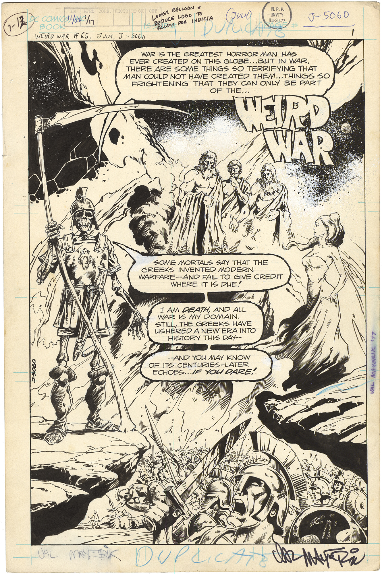 Weird War Tales #65 p1 (Signed)