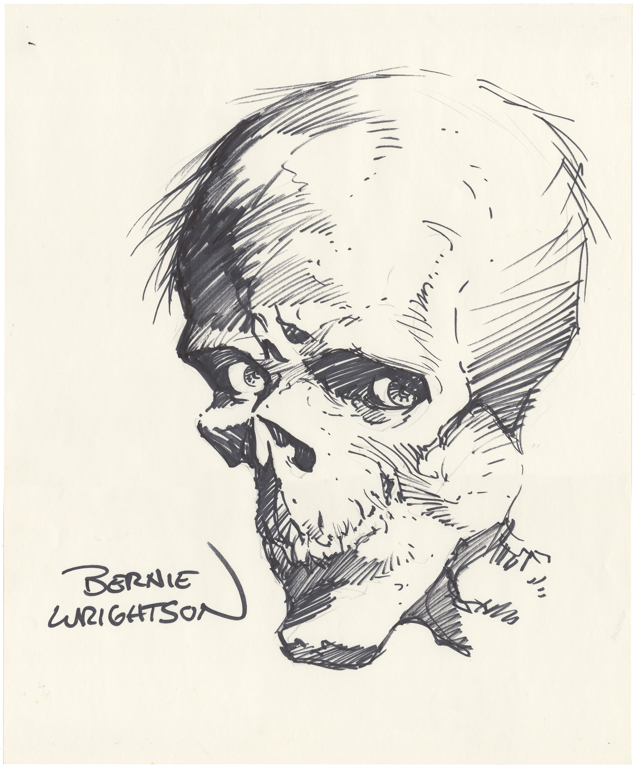 Bernie Wrightson Skull Sketch