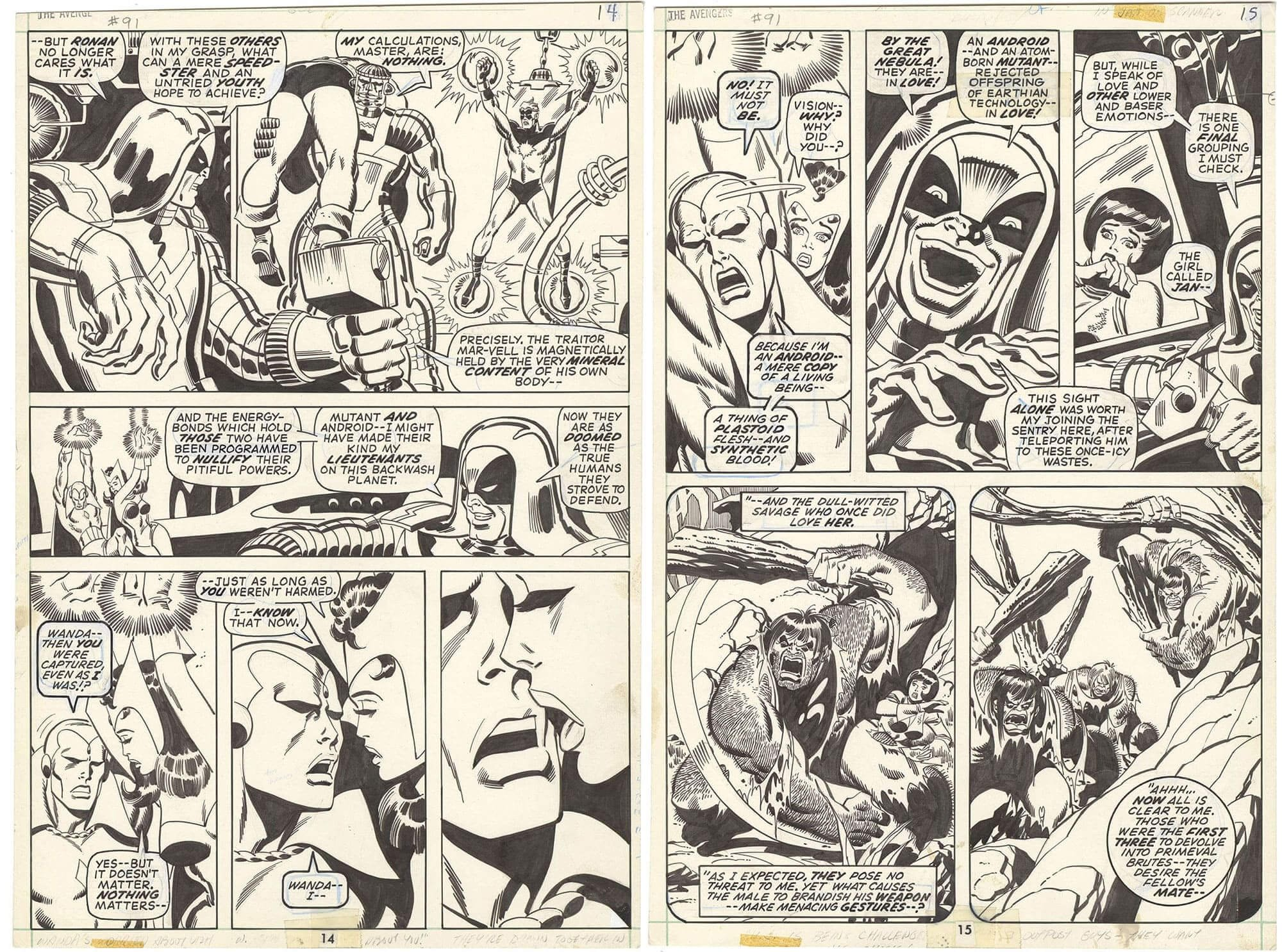 Avengers #91 pages 14 and 15