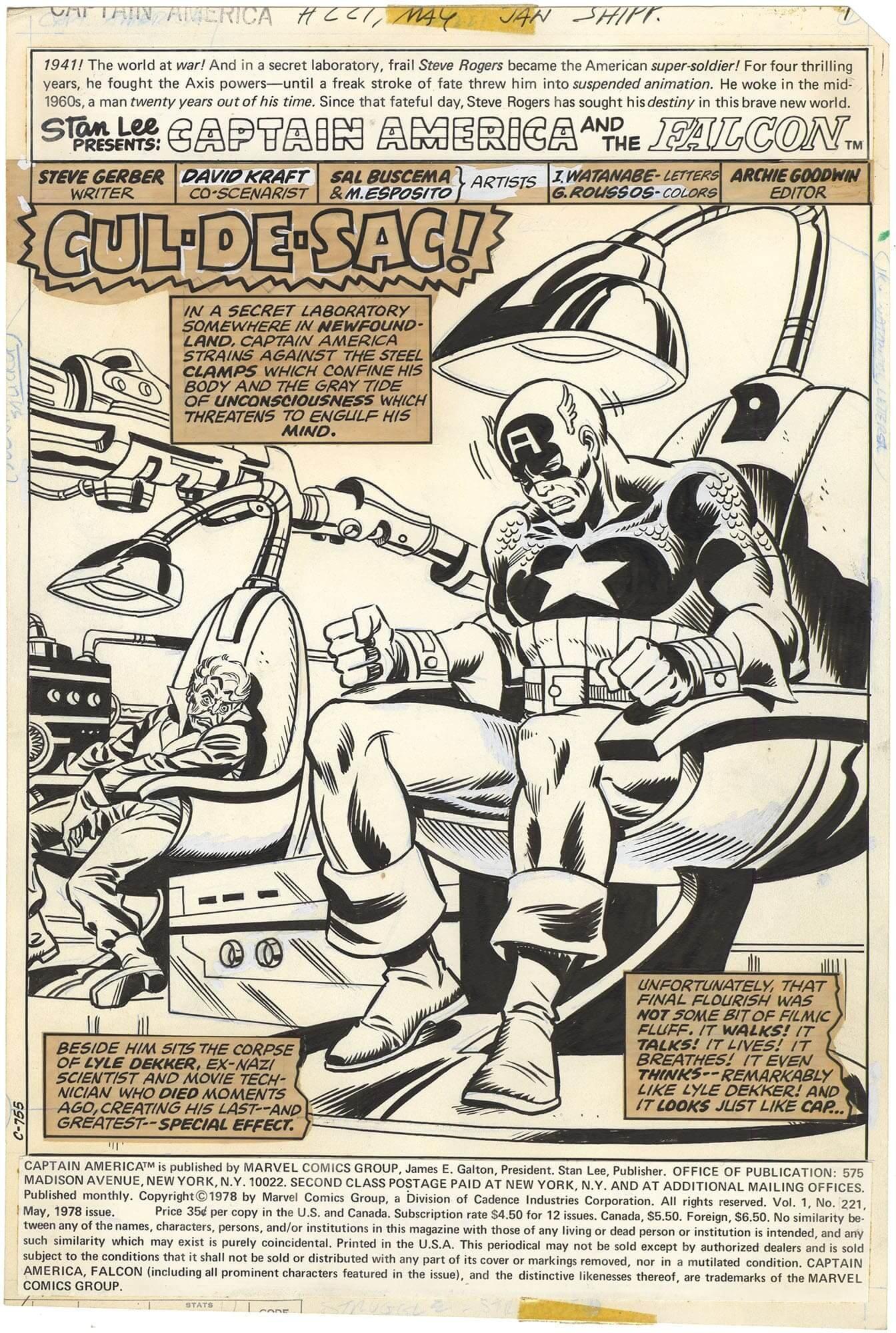 Captain America #221 p1 (Splash)